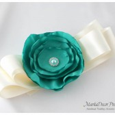 Bridal Bridesmaid Sash / Belt in Ivory and Tiffany Green with a Big Handmade Flower and Brooch