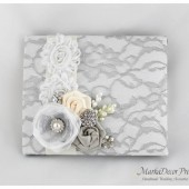 Wedding Lace Guest Book Custom Made in White, Silver and Ivory with Handmade Flowers, Brooches and Stamens' Accents