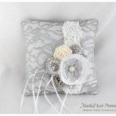 Wedding Ring Pillow with Brooches Crystals Handmade Flowers in White, Silver and Ivory