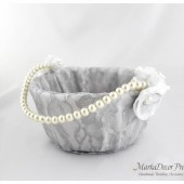 Lace Flower Girl Basket with Brooches Crystals Handmade Flowers in White, Silver and Ivory 1pc
