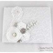 Wedding Lace Guest Book Custom Made in White with Handmade Flowers, Brooches and Stamens' Accents