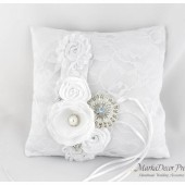 Wedding Ring Pillow with Brooches Crystals Handmade Flowers in White