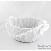 Lace Flower Girl Basket with Brooches Crystals Handmade Flowers in White 1pc