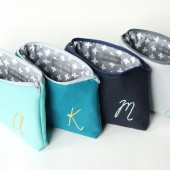 Monogram Cosmetic Bag in Gradient Blues
