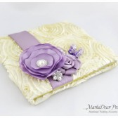 Wedding Guest Book Custom Made in Ivory and Lavender