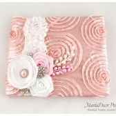 Wedding Guest Book in Pink and White with a Line of Lace, Handmade Flowers, Brooches and Stamens' Accents