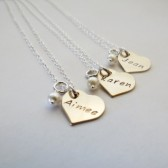 Personalized Gold Heart Necklace with Pearl