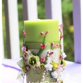 Wedding Candle with my Stamen's accents, handmade paper Flowers, special Ribbons in Green and Pink