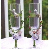 Wedding glasses with my stamen's accents, handmade flowers, special ribbons in Green and Pink (1 Pair)