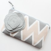 Chevron Clutch Purse and Flower Brooch, Blush and Gray