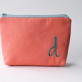 Personalized Cosmetic Bag, Embroidered Initial