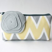 Chevron Clutch, Yellow and Gray,