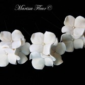 Bridal Hair Pins, Set Of 3 Hydrangea Trios, Hair Pins With Clear Swarovski Rhinestones