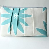 Pleated Clutch Purse, Aqua Flower