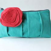 Pleated Clutch with Flower, Aqua and Red