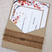 Fall Tree and Leaves Rustic Country Pocket Wedding Invitation
