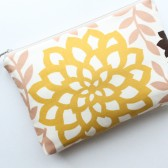 Cosmetic Bag Clutch, Yellow Floral
