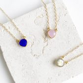 Dainty Heart Necklace in Gold. Simple Delicate Gemstone Valentines Necklace