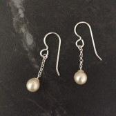 Delicate sterling silver pearl drop earrings
