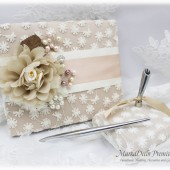 Champagne Blush Guest Book Holder, Wedding Lace Guest Book Pen Holder, Birthday Book, Bridal Flower Book, Brooch Guest Book, Signature Book