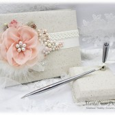 Wedding Linen Lace Guest Book and Pen Holder Set Pearl Bridal Feathers Brooch Guest Books Birthday Guest Book in Ivory Blush Pink Peach