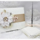 Wedding Lace Guest Book Pen Holder Set Bridal Flower Pearl Book Jeweled Brooch Guest Books Birthday Book in Ivory Champagne White Pink Blush