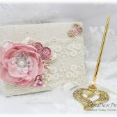 Wedding Lace Guest Book Pen Holder Set Jeweled Birthday Book Bridal Flower Brooch Guest Books Signature Book in Ivory, Dusty Rose, Pink