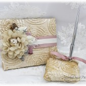 Wedding Lace Guest Book Pen Holder Set Jeweled Birthday Book Bridal Brooch Guest Books Signature Book in Champagne Ivory Dusty Rose Pink