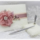 Wedding Lace Guest Book Pen Holder Set Jeweled Birthday Book Bridal Flower Brooch Guest Books Signature Book in Ivory, Blush Rose Pink Mauve