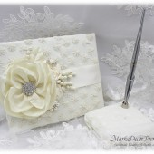 Wedding Lace Guest Book Pen Holder Set Jeweled Birthday Book Bridal Flower Brooch Guest Books Custom Signature Book in Ivory