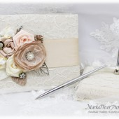 Champagne, Ivory, Blush Guest Book and Holder, Lace Guest Book, Wedding Bridal Signature Book, Brooch Book, Jeweled Guest Book Birthday Book