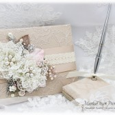 Wedding Lace Guest Book and a Pen Holder Bridal Flower Brooch Books with Handmade Flowers, Brooch Guestbook in Champagne, Ivory and Pink