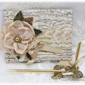 Wedding Lace Guest Book and Pen Set Wood Imitation Bridal Crystal Brooch Guest Books Vintage Birthday Guest Book in Champagne Ivory and Tan