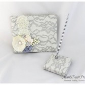 Wedding Lace Guest Book and Pen Set Custom Made in Ivory and Silver with Handmade Flowers, Brooches and Stamens' Accents