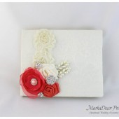 Wedding Lace Guest Book Custom Made in Ivory and Coral with Handmade Flowers, Brooches and Stamens' Accents