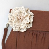 Choco Brown linen and lace clutch