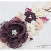 Plum Wedding Sash Bridal Jeweled Flower Sash Brooch Beaded Sash Crystal Sash Custom Bridesmaid Belt in Plum Purple Ivory Blush Rose Quartz