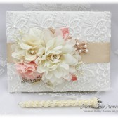Wedding Lace Guest Book Pen Set Jeweled Birthday Book Bridal Flower Brooch Guest Books Custom Signature Book in Ivory Peach Champagne
