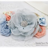 Wedding Sash Bridal Jeweled Flower Sash Custom Belt in Powder Dusty Blue Ivory Blush Rose Quartz with Brooches, Flowers Beach Wedding