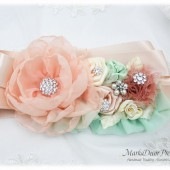 Wedding Sash Peach Mint Bridal Belt Jeweled Flower Sash Custom Beaded Belt in Ivory Blush Rose Peach Mint Aqua Beach Wedding