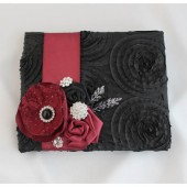 Wedding Guest Book Custom Made in Black and Bordeaux