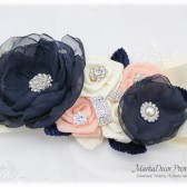 Navy Wedding Sash Bridal Jeweled Flower Sash Blush Custom Belt Beaded Sash in Navy Blue Rose Pink Blush Ivory