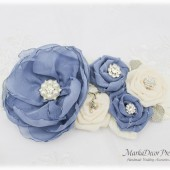 Wedding Sash Bridal Jeweled Flower Sash Custom Belt in Powder Dusty Blue Ivory with Brooches, Flowers Beach Wedding