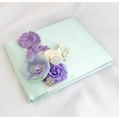 Wedding Satin Guest Book Custom Made in Sage Green, Ivory and Lavender Lilac with Handmade Flowers, Brooches and Stamens' Accents