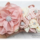 Blush Wedding Sash Bridal Jeweled Flower Sash Brooch Belt in Blush Pink, Champagne, Nude, Ivory