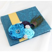 Wedding Lace Guest Book Custom Made in Teal, Gold and Purple and Turquoise with Handmade Flowers, Brooches and Peacock Feather