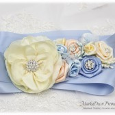 Wedding Sash Bridal Jeweled Flower Sash Custom Belt in Serenity Blue, Powder Blue, Blush Pink, Ivory with Brooches, Handmade Flowers