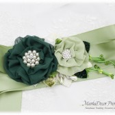 Wedding Sash Bridal Jeweled Flower Sash Custom Belt in Shades of Green and Ivory with Brooches, Handmade Flowers Eco Wedding Barn Wedding