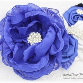 Wedding Sash, Royal Blue White Bridal Sash, Jeweled Flower Sash, Custom Belt, Beaded Sash, Jeweled Belt, Flower Sash, Custom Crystal Sash