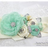 Wedding Sash Bridal Jeweled Flower Sash Custom Belt in Ivory Mint Aqua with Brooches, Handmade Flowers Beach Wedding